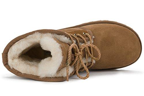 OZZEG Mode hiver Shearling femme Bottes Couple chaussures en peau de mouton doublure chaude neige Brun