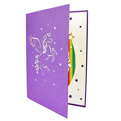 3D Geburtstagskarte, Einhorn mit Regenbogen - 3