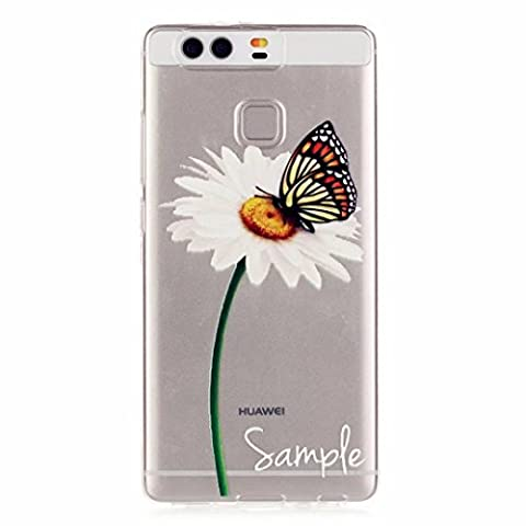 MUTOUREN Huawei P9 case cover Transparent TPU Silicone Protector Mobile Phone Cover Case Anti-Scratch Protector Crystal Clear Case Cover TPU Bumper Shell - colorful Butterfly and Dandelion Flowers Daisy white