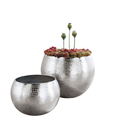 Pureday Blumentopf-Set 2 Größen 30 cm Ø + 40 cm Ø Übertopfe Aluminium Modern Design silber glänzend 2 Stück