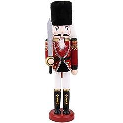 Muñeca Soldado Cascanueces de Madera con Espada Pintado a Mano