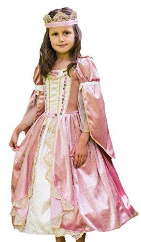 Confettery - Mädchen Prinzessin Kostüm, Karneval, Fasching, Halloween, Altrosa, Größe 116-128, 6-8 (Halloween Jasmin Frauen Kostüm Für Prinzessin)