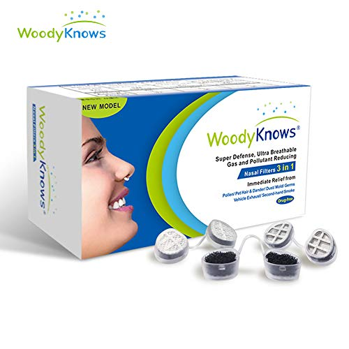 WoodyKnows 3 in 1 Anti Allergie Nasenfilter kombiniert Ultra-Atmungsaktiv, Super Defense und Gas- und Schmutzreduzierung in einem zur Linderung von Pollen und Stauballergien