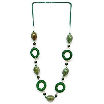 Collier long femme sautoir camaïeu de vert céramique et coton
