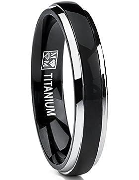 Ultimate Metals Co.® 4MM Herren Schwarz Titan Dome Ehering, Bequemlichkeit Passen