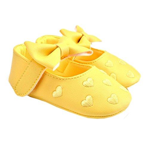 Calçados 12 Sapatos Centímetros Menina Antiderrapantes Macios Bowknot Sapatos Rastejando Bebê Wocachi 5 Rosa Sapatilha Criança De Couro Amarelo OZqCxnw75
