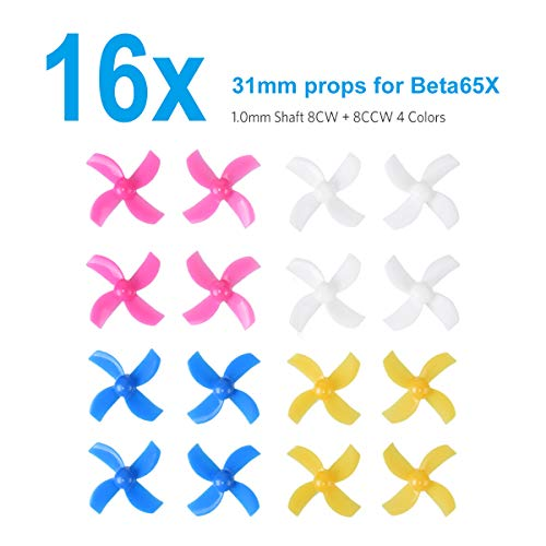 BETAFPV 16pcs 31mm 4-Blade Tiny Whoop Propellers with 1.0mm Shaft for 0603 Motors