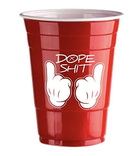 Red Celebration 50 Gobelets Américain Rouges Dope Logo Red Cups Design - Party Beer Pong Original 500 ML - Grand jetables Verres en Plastique 16oz - Double imprimés College & Anniversaire Tasses