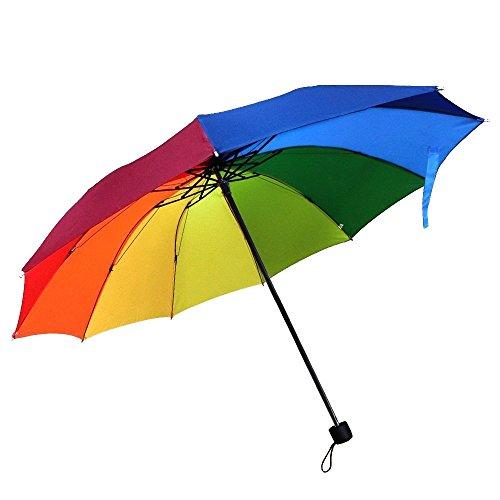 Preisvergleich Produktbild Regenschirm, CAMTOA Regenbogen Schirm Taschenschirm mit 10 Rippen Winddicht Wasserdicht kompakt stabiler Umbrella Regenschirm, Schirmdurch aus robusten 190T Stoff
