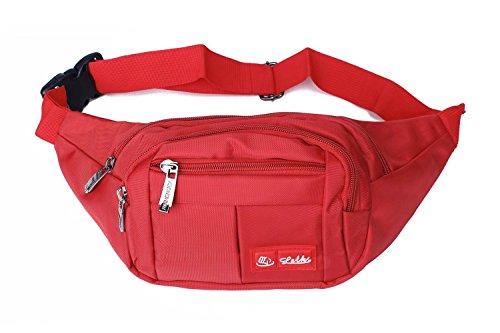 Toudorp Wasserdicht Gürteltasche / Bauchtasche mit 4 Einzeltaschen für Damen, Herren und Kinder, für Outdoor Reise und Laufen Rot