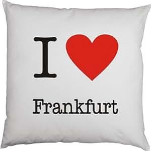 Kissenbezug - I love Frankfurt -100 % Baumwolle in weiß mit 40x40cm