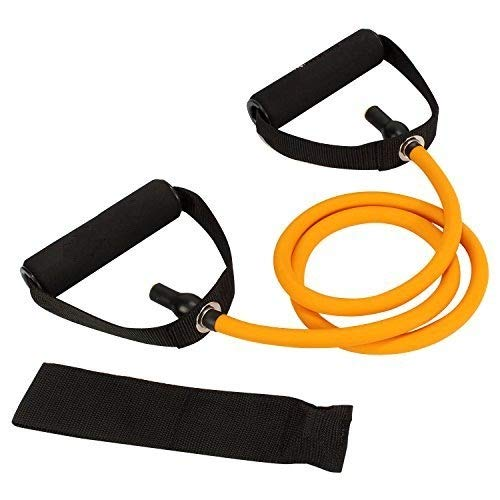 PETRICE Single Resistance Band, Exercise Tube - with Door Anchor, for Resistance Training, Physical Therapy, Home Workouts, Boxing Training (Orange)