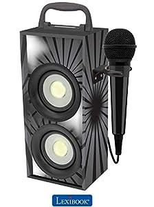 Lexibook - Altavoz portátil inalámbrico con Bluetooth, Luces Disco, micrófono, Toma Jack, USB, SD, batería Recargable, Color Negro (lexibook btp155bkz).