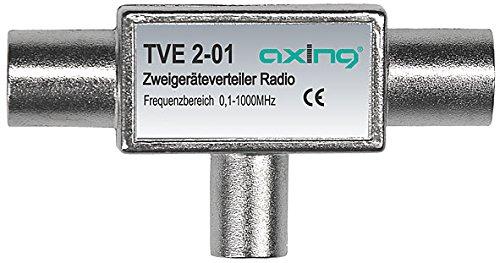 Axing TVE 2-01 TV Zwei-Geräte-Verteiler BK UKW DAB (0,1-1000 MHz) 2x IEC-F und 1x IEC-M
