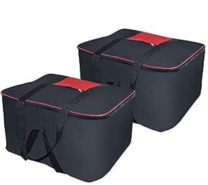 TULMAN Pack of 2 Big Underbed Cloth Storage Bag Moisture Proof Blanket Organizer with Double Zipper- 54x46x28 cm Black