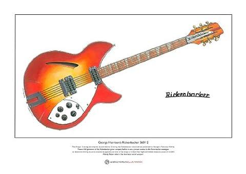 1964 Rickenbacker 360/12 Ltd Edition Fine Art Print taille A3 de George Harrison édition limitée Fine Art Print