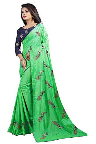 Shiroya Brothers Women's Silk Embroidered Saree with Blouse Piece (Peacock_Multicolour) 2