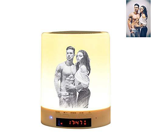 Luz de foto personalizada Lámpara de sobremesa multicolor con altavoz Bluetooth luz nocturna de color regulable, regalo para los niños amigos de la familia(Sketch