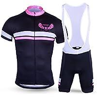 Pantalones de ciclismo Pantalones de montar en bic Traje de ciclismo para hombres + pantalón corto con relleno 3D Babero de secado rápido y traje negro-rosa XL ( Color : Black-Pink , tamaño : L )