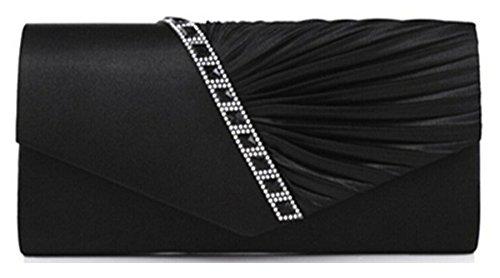 Cloud-Y Borsa Pochette Donna Sacchetto di Sera a Mano Borsetta stile Elegante Dolce Borsa Festa(Dimensione:26*15*5cm) nero(27×11×5cm)