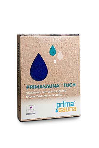 primasauna Saunatuch 210 x 80 cm für Damen und Herren mit innovativer Öse - Saunahandtuch in Geschenk Box - Großes Sauna XXL Premium Badetuch Handtücher aus Baumwolle saugstark flauschig weich - Blau -