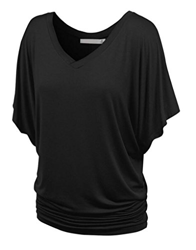 NiSeng Damen V Ausschnitt Shirring T-Shirt Kurzarm Falten Volant Dolman Ärmel Einfarbig Tunika Beiläufiges Tops Noir L (Lange Dolman)