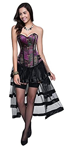 Charmian Women's Steampunk Gothic Retro Bustier Corset and High Low Skirt Set Multicolored Medium