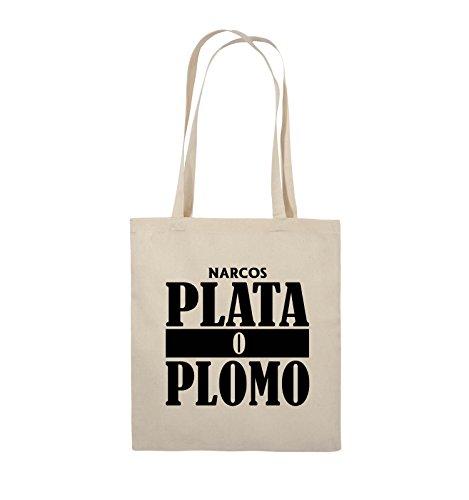 Comedy Bags - PLATA O PLOMO - NARCOS - Jutebeutel - lange Henkel - 38x42cm - Farbe: Schwarz / Silber Natural / Schwarz