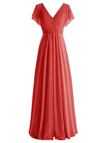 Bbonlinedress Robe de cérémonie et de demoiselle d'honneur col V dentelle manches chauve-souris longueur ras du sol en mousseline Rouge