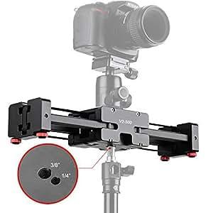 """CameraPlus® CP-V2-500 Compact Pro Caméra piste Dolly curseur ferroviaire Tirez stabilisateur vidéo avec 1/4 """"et 3/8"""" Vis-fil pour les caméscopes professionnels, reflex, DSLR et DV, Prend en charge jusqu'à 8 kg."""