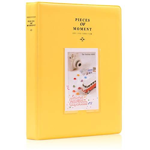 Ablus store 120tasche mini photo album per fujifilm instax mini 7s 88+ 9252650s 7090fotocamera istantanea e nome carta, plastica, yellow, 128 pockets