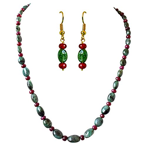Surat Diamond Real Oval Green Emerald & Red Ruby Beads Necklace Earring Set for Women (SN691)  available at amazon for Rs.4199
