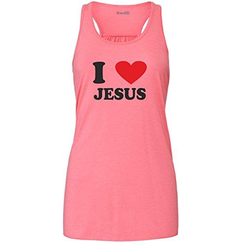 Brand88 - I Love (heart) Jesus Damen Flowy Racer Tank Top Rosa