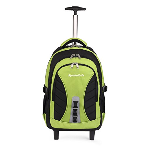 symbollife-18-inch-wheeled-backpack-high-capacity-lightweight-rolling-backpack-laptop-computer-verde