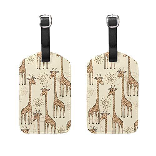 2 PCS Kofferanhänger Cute Giraffe Suitcase Labels Travel Accessories Ems Gps