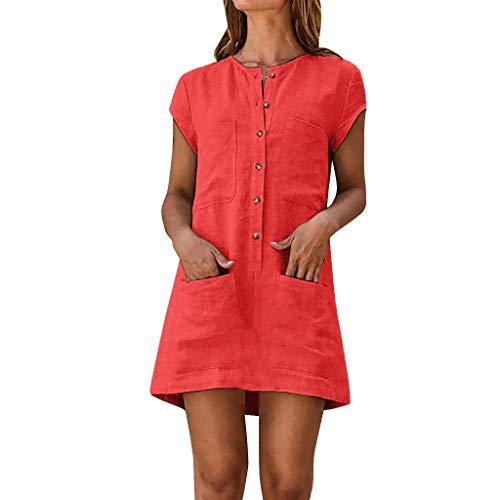 Amcool Leinenkleid Damen Sommer Kurzarm Rundhals Einfarbig Freizeitkleid Vintage Baggy Boho Loose Casual Kurz Mini A-Linie Party Strandkleid Mit Tasche (Rot, L) (Rote Damen Kleider Vintage)