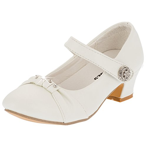 Eva Mode Festliche Mädchen Pumps Ballerinas Schuhe Absatz Strass M836ws Weiß 35
