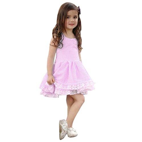 IGEMY 12M-5T Kleinkind Mädchen Sommer Kleidung, Streifen Spitze Elegante Party Pageant Prinzessin Kleider (24M/90CM, Pink) (Kleider Pageant Pink Kinder)