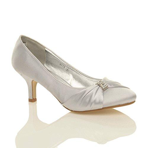 Ajvani Womens Ladies Wedding Evening Low Kitten Heel Fulltoe Shoes Sandals  Size 7 40