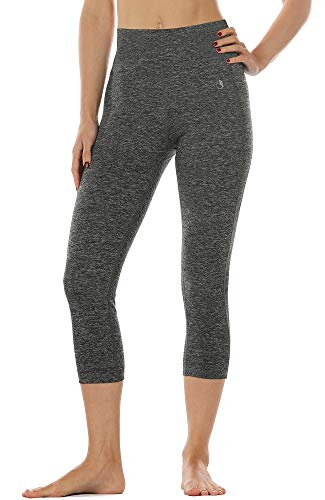 High Performance Charcoal (icyzone 3/4 Sport Leggings Damen Sporthose Laufhose - Hohe Taille Training Tights Yoga Hosen Capri (M, Charcoal))