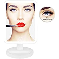 Vanity Mirror with Lights for Makeup 1x/10X Magnification Led Makeup Countertop Mirror for Cosmetic Shaving in Bathroom,Power Supply by USB Cable or 4 pcs AA Batteries