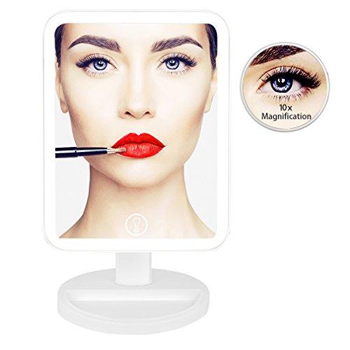 UUCOLOR Schminkspiegel mit Licht Doppelt 180° Einstellbar LED Kosmetikspiegel 10X Vergrößerungsspiegel im Badezimmer,Versorgung mit USB-Kabel oder Batterie