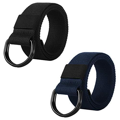 ITIEZY Cinturón de Lona Hombre, 2 Paquetes Cinturones Militar Ajustable Todo-Fósforo con Hebilla de Anillo en D Negro para Hombres Mujeres
