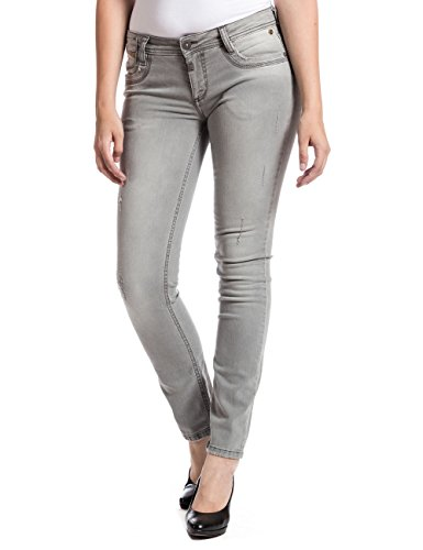 Timezone Tamikatz 9020 Light Grey Destroy - Jeans - Slim - Femme Gris - Grau (light grey destroy 9020)