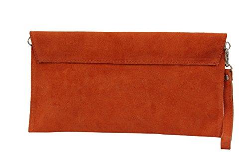 AMBRA Moda Damen Wildleder Envelope Clutch Handschlaufe Handtasche Schultertasche Unterarmtasche Damentasche Veloursleder WL801 Orange