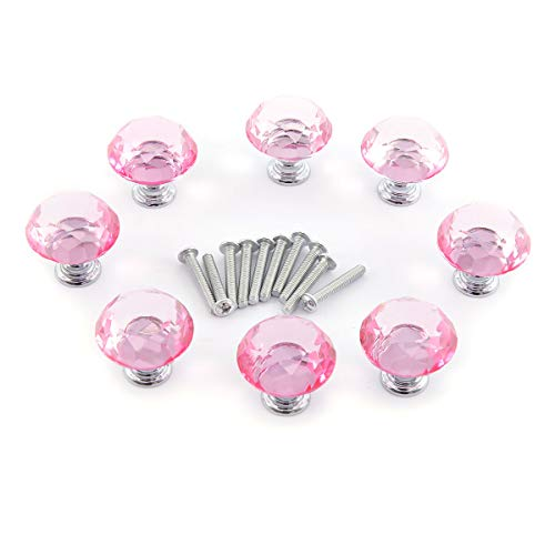 Surepromise 8X Schrankknöpfe Schubladenknöpfe Kristallglas 30mm Pink Rund Zinklegierung Möbelknöpfe Möbelknopf für Küche, Büro, Bad-, Wohn-, Schlaf-, Kinderzimmer