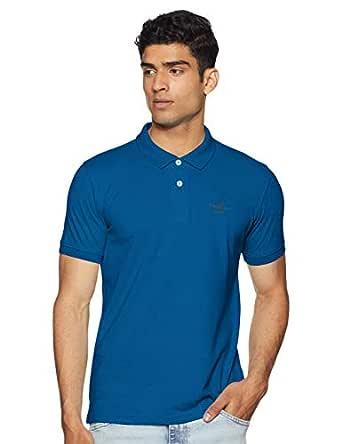 Peter England Men's Solid Regular fit Polo (PCKPCSGFK13329_Medium Blue_M)