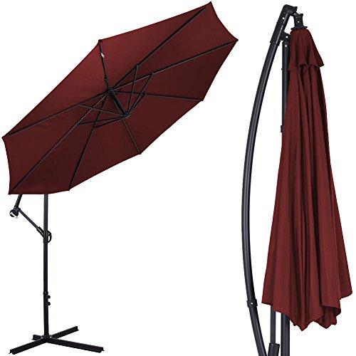 Bakaji ombrellone da giardino decentrato 3x3 mt palo alluminio chiusura a manovella base a croce sistema air vent arredamento esterno gazebo piscina giardino terrazzo ambienti esterni vinaccio