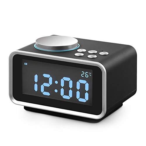 HNPYY Digital Alarm Clock Radio, Small LCD Display/Snooze/Dimmer/Battery Backup/Temperature/Dual USB Charging (Usb Dual Clock Alarm Radio)