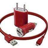 Seluxion - Mini Chargeur 3en1 Auto Et Secteur Usb Avec Câble Data Rouge pour Blackberry : Curve 8520 / Curve 9360 / Curve 9380 / Torch 9800 / Torch 9860